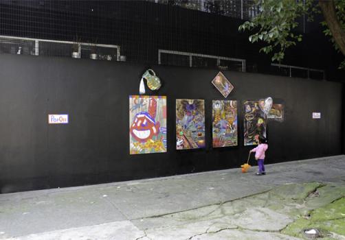 Santiago Robles, Pop Off, Aparición Repentina, Intervención Urbana, Intervención Pictórica, Acción colaborativa, Pintura, Painting, Interventionism, Vitrina Pop Off
