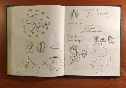 Santiago Robles, Jardín Tepaneca, Mural, Azcapotzalco, Cuaderno de trabajo 3