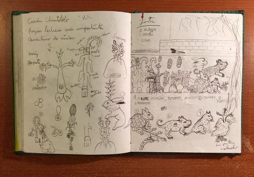 Santiago Robles, Jardín Tepaneca, Mural, Azcapotzalco, Cuaderno de trabajo 4