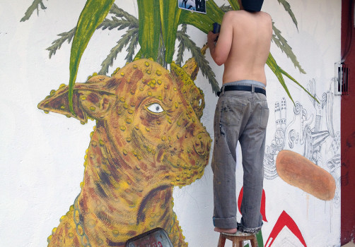 Santiago Robles, Pieza a muro, La Cebada, Proceso, Korn, Maíz, Pared original, Pintura, Realización 2