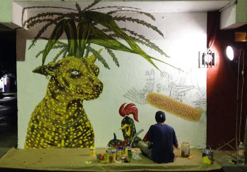 Santiago Robles, Pieza a muro, La Cebada, Proceso, Korn, Maíz, Pared original, Pintura, Realización 3