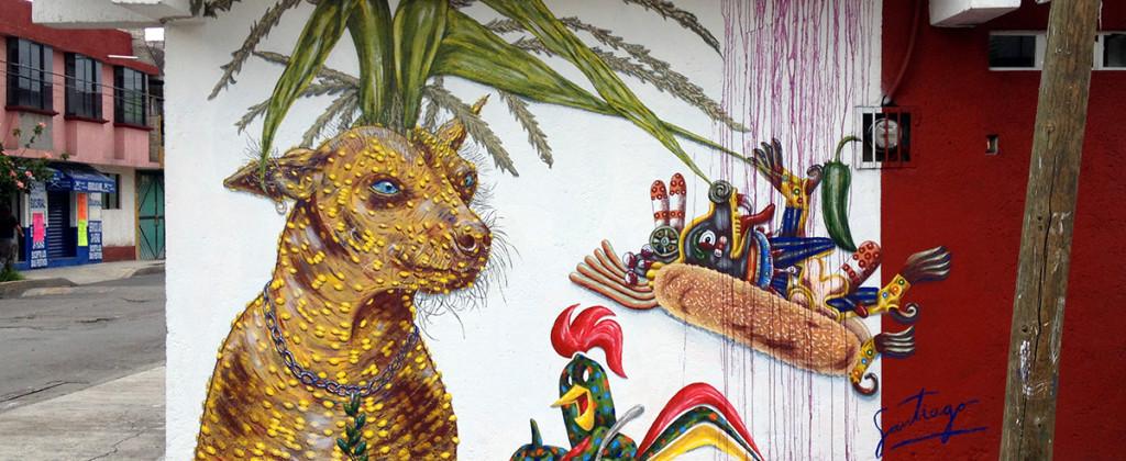 Santiago Robles, Pieza a muro, La Cebada, Proceso, Korn, Maíz, Pared original, Pintura, Final 10
