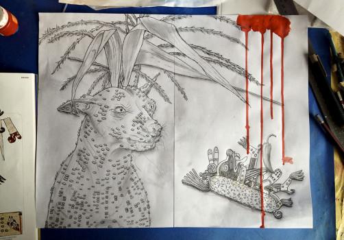 Santiago Robles, Pieza a muro, La Cebada, Dibujo, Drawing, Recorte, Boceto, Korn, Maíz, Sketch 2,