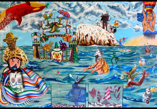 Santiago Robles, Pop Off, Aparición Repentina, Intervención Urbana, Intervención Pictórica, Acción colaborativa, Pintura, Painting, Interventionism, Playa-En el mar 3