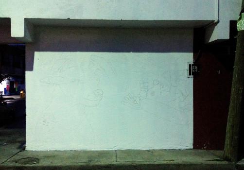 Santiago Robles, Pieza a muro, La Cebada, Proceso, Korn, Maíz, Pared original, Análisis de pared, Boceto pared 2