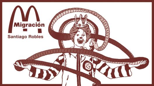 Santiago Robles, Migración, Exposición individual, solo exhibition, La Trampa, Christian Barragán, FAD, UNAM, Gráfica, Graphic, Red, Rojo, Grana cochinilla