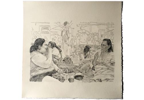 Santiago Robles, Seis comidas compartidas, Intervención, Intervencionismo, Apropiación, Espacio público, Plaza de la Alhóndiga, Centro histórico, Ciudad de México, La Merced, Dibujo, Drawing, Arte visual, Visual art, Miss Baby Baby