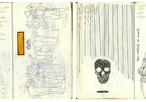 Santiago Robles, Notebook, Libreta, Moleskine, Apuntes, Sketches, Bocetos, Drawing, Dibujo, Writing, Escritura, Ideas, Proceso, Collage