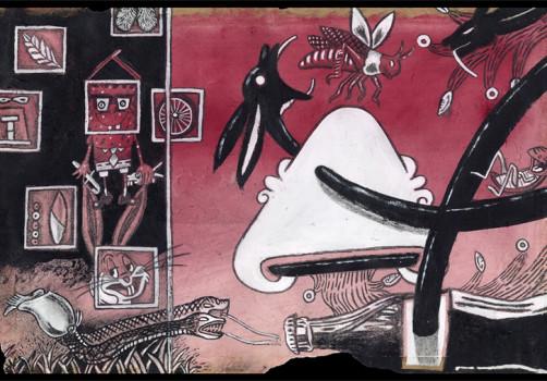 Santiago Robles, Migración, Migration, Dibujo. Draw, Drawing, Tinte, Grana Cochinilla, Cochineal, Pintura acrílica, Acrylic paint, Arte Papel Vista Hermosa, Handmade paper, Oaxaca, TLCAN, Códice Boturini, Arte, Arte Contemporáneo, Art, Visual Art, Contemporary Art, Serie, Rojo, Red
