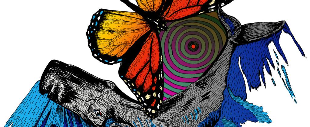 Santiago Robles, draw, graphic, dibujo, gráfica, color, blanco y negro, Black & white, Migracion, Migration, Francisco X. Alarcón, Voices of Mexico, UNAM, CISAN, Magazine, revista, editorial