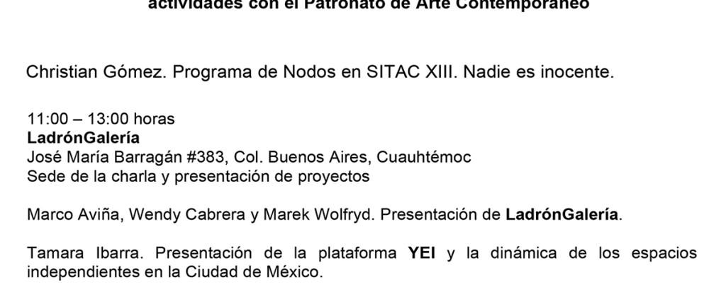 SantiagoRobles, PatronatoArteContemporáneo, PAC, Patria, Arte contemporáneo, ContemporaryArt, PAC, LadronGaleria, BiquiniWax, Platica, Talk