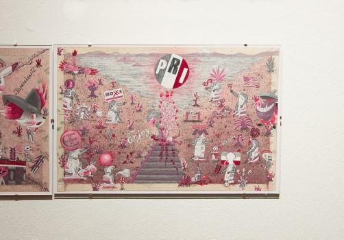 SantiagoRobles, Grafica, Graphic, ContemporaryArt, Starbucktlan, Paint, Exhibition, Show, Exposición, GaleriaLibertad, Queretaro, ChristianBarragan, AllWays, GranaCochinilla, cochineal
