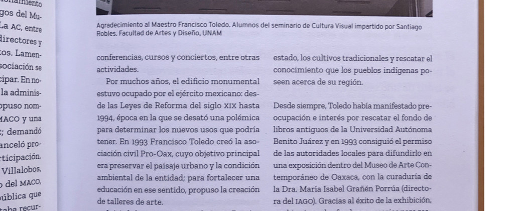 SantiagoRobles, FranciscoToledo, UNAM, RevistadelaUniversidaddeMexico, Texto, Text, Biografía, Art, VisualArt, ContemporaryArt, ArtMagazine, Magazine, Revista