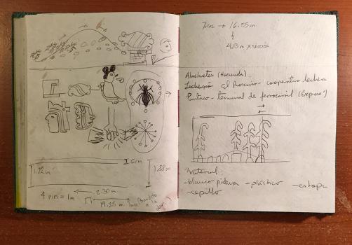 Santiago Robles, Jardín Tepaneca, Mural, Azcapotzalco, Cuaderno de trabajo 5