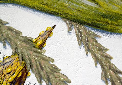 Santiago Robles, Pieza a muro, La Cebada, Proceso, Korn, Maíz, Pared original, Pintura, Realización 6