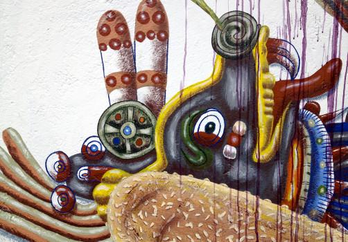 Santiago Robles, Pieza a muro, La Cebada, Proceso, Korn, Maíz, Pared original, Pintura, Final 6