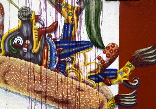 Santiago Robles, Pieza a muro, La Cebada, Proceso, Korn, Maíz, Pared original, Pintura, Final 7