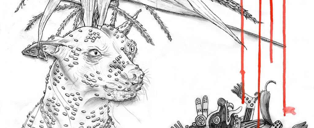 Santiago Robles, Pieza a muro, La Cebada, Dibujo, Drawing, Recorte, Boceto, Korn, Maíz, Sketch 3