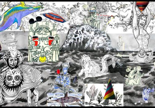 Santiago Robles, Pop Off, Aparición Repentina, Intervención Urbana, Intervención Pictórica, Acción colaborativa, Pintura, Painting, Interventionism, Playa-En el mar 2