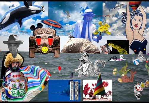 Santiago Robles, Pop Off, Aparición Repentina, Intervención Urbana, Intervención Pictórica, Acción colaborativa, Pintura, Painting, Interventionism, Playa-En el mar 1