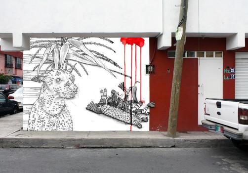 Santiago Robles, Pieza a muro, La Cebada, Proceso, Korn, Maíz, Pared original, Análisis de pared, Boceto pared
