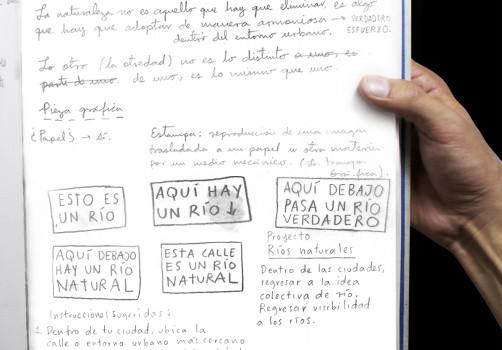 Santiago Robles, Río, Río Natural, Proyecto Ríos naturales, Arte visual, Visual art, Intervención., Pintura, Cartel, Impresión, Intervensionism, Ciudad de México., Cuaderno de trabajo, Proceso, Process 1