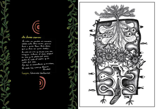 Santiago Robles, Diseño, Design, Invitación, Invitation, Alma Pyñeiro, Gustavo, Eduardo Galeano, De deseo somos, Gráfica, Graphic, Ink, Tinta, Painting, Pintura,