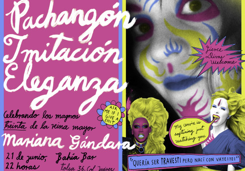 Santiago Robles, Diseño, Design, Invitación, Mariana Gándara, Pachangón Imitación Eleganza, Bahía Bar, Fiesta, Party, Gloria Trevi, Ru Paul