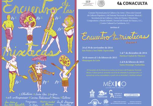 Santiago Robles, Diseño, Design, Invitación, Encuentro de las Mixtecas, Demián Flores, Oaxaca, Culturas Populares, Secretaría de Cultura