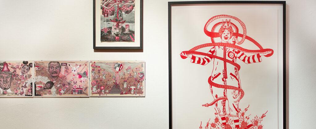 SantiagoRobles, Migracion, Print, VisualArt, ContemporaryArt, Silkscreen, Cochineal, Red, Graphic, Exhibition, Encontramoslaseñal