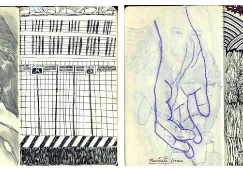 Santiago Robles, Notebook, Libreta, Moleskine, Apuntes, Sketches, Bocetos, Drawing, Dibujo, Writing, Escritura, Ideas, Proceso, Collage