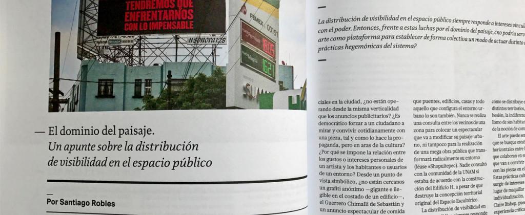 Santiago Robles, Revista Código, El dominio del paisaje, Visibilidad, Arte contemporáneo, Contemporary Art, Minerva Cuevas