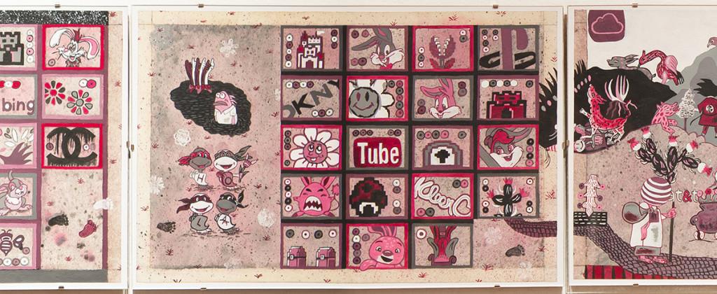 SantiagoRobles, Grafica, Graphic, Codice, Codex, Art, Arte, ContemporaryArt, ArteContemporaneo, TLCAN, USMCA, Azteca, Aztec, Azcatitlan, Boturini, Draw, GranaCochinilla, Cochineal, Rojo, Red, ArtistBook, LibrodeArtista
