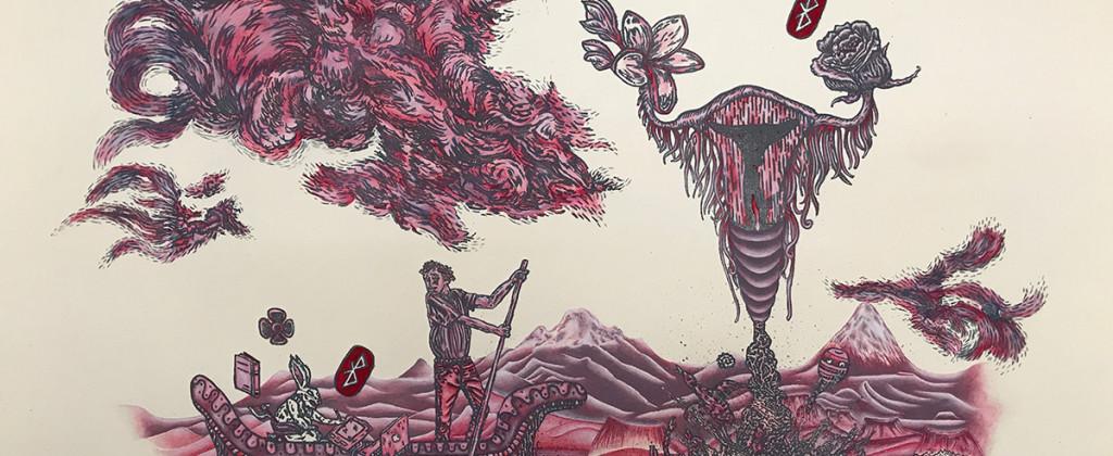 SantiagoRobles, LaSeñal, TheSignal, Grafica, Graphic, Litografía, Litography, LaMaquina, FranciscoLimon, Oaxaca, Print, Printing, Art, ContemporaryArt, ArteContemporaneo, Oaxaca, Cochinilla