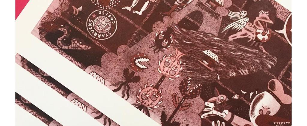 SantiagoRobles, codicestarbuckstlan, riso, risograph, illustration, ilustracion, sara, print, printing, edicion, edition