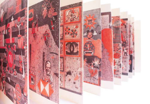 SantiagoRobles, Starbuckstlan, Red, Art, ContemporaryArt, SARA, Riso, ContemporaryArt, ArteContemporaneo, Grafica, Graphic, Print, Codice, Codex, Azcatitlan, Aztec, Aztlan, Draw, Paint